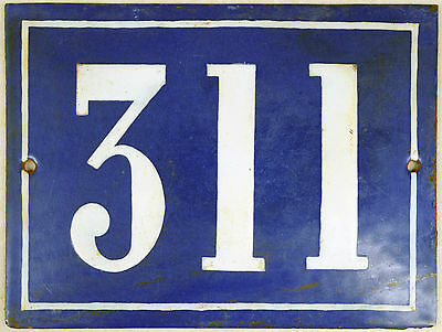 Large old blue French house number 311 door gate plate plaque enamel steel sign