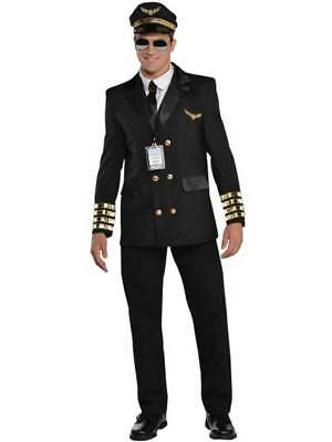Adult Mens Pilot 60s Airline Captain Uniform Aviator Fancy Dress Costume M-XXL