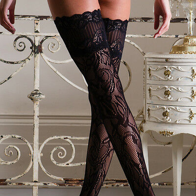 *LIMITED EDITION* Luxury Lace Top Fishnet Lace Patterned Hold-Up Stockings
