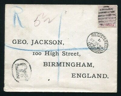 Nigeria Queen Victoria Lagos Registered Cover Christmas Day Liverpool