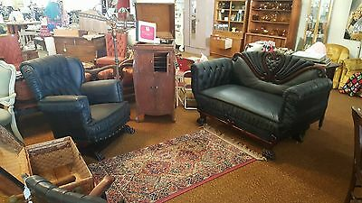 American Empire Mahogany Leather Settee Loveseat Rocking Chair Parlor Set Wood