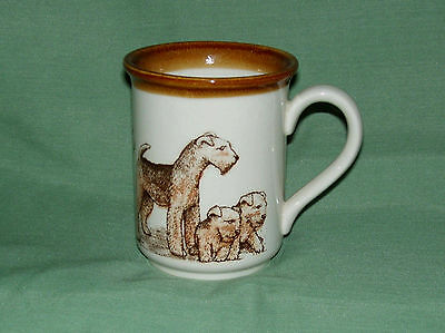 Airedale Terriers going around complete  Mug- Made in England by Biltons