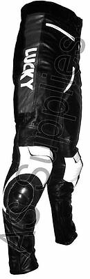 """""""LUCKY STRIKE"""" New Black/White Leather Motorcycle Trousers Pants - All sizes!"""