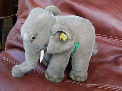 Steiff 0500/17 Vintage 1968 Firm Bodied Mohair Plush Elephant With Button & Id