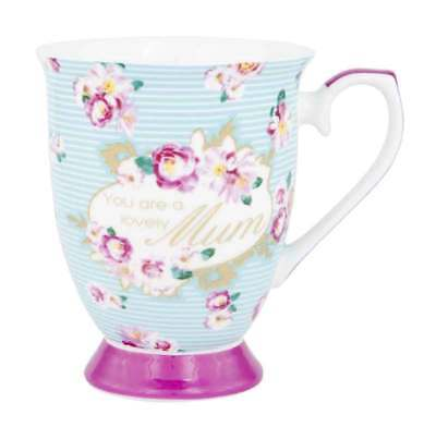 NEW Mums The Word You Are A Lovely Mum Design Fine Bone China Tea Coffee Mug Cup