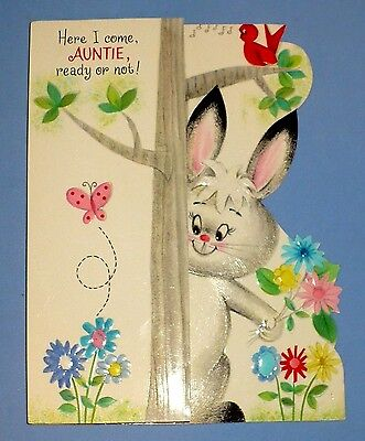 Birthday vintage greeting cards paper collectibles page 51 picclick vintage hallmark embossed glossy bunny flowers auntie birthday card used vgc m4hsunfo Gallery