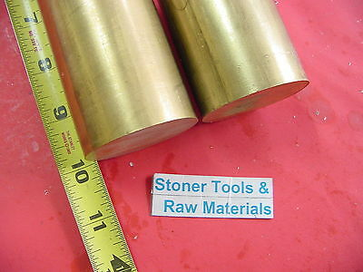 """2 Pieces 1-3/4"""" C360 BRASS ROUND ROD 10"""" long Solid 1.75"""" OD H02 Lathe Bar Stock"""