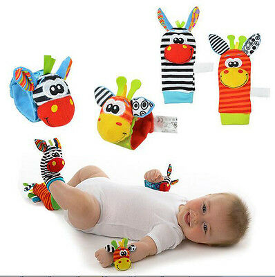 Lovely Infant Baby Kids Animal Hand Wrist Bells Foot Sock Rattles Soft Toys
