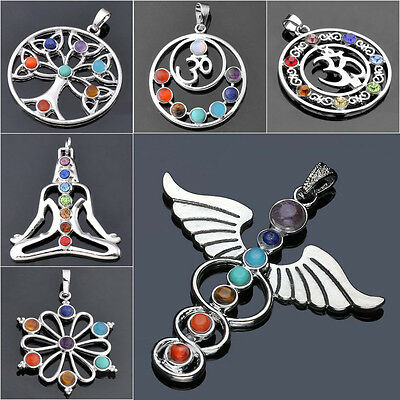 Natural 7 Gemstone Beads Chakra Healing Point Reiki Charms Pendant For Necklace