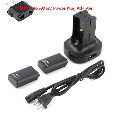 Charging Station Charger Dock+2X 4800mAh Rechargeable Battery For Xbox 360 G#