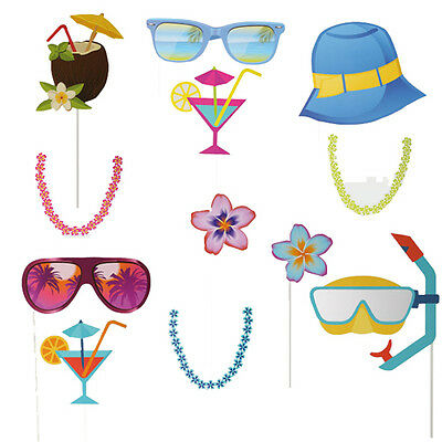 12Pc Beach Photo Booth Props Kit Kids Fun Birthday Hen Night Party Accessories