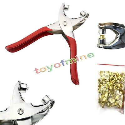 Leather Punch & Eyelet Plier Hole Belt Plastic Puncher Revolving + 100pc Eyelets