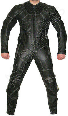 """ENIGMA"" 1-piece Black Leather Biker Motorcycle Suit - All sizes!"