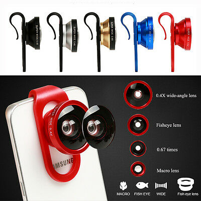 4in1 Fisheye + Wide Angle + Macro Lens Camera Clip Universal for Smart Phones