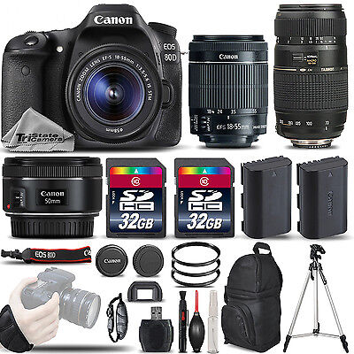 Canon EOS 80D DSLR Camera with 18-55mm Lens +50mm 1.8 + 70-300mm - 64GB BUNDLE