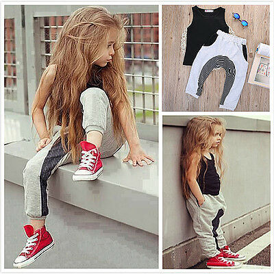 Toddler Kids Baby Girls Outfits Clothes T-shirt Tops Dress+ Pants 2PCS Sets 2-7Y