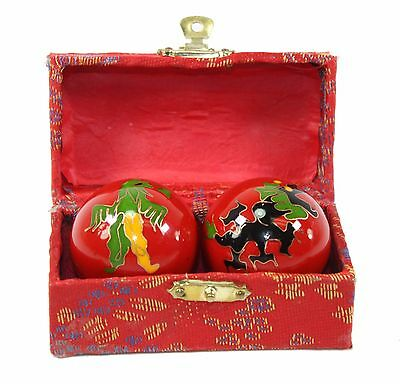 A Set Red Chinese Baoding Phoenix Dragon Cloisonne Iron Ball Hand Stress Relief