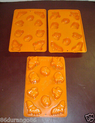 Lot Of 3 Jello Haloween Jigglers Jello Mold Makes 30 Shots Bats Witches Pumpkin
