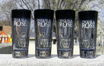 4 New Tequila Rose Shot Glasses Smoke Color Textured Design