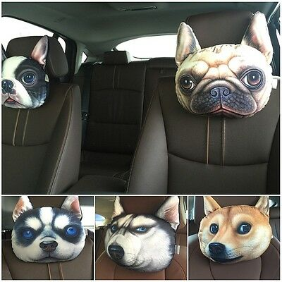 3D Dog Face Car Seat Headrest Neck Support Rest Pillow Cushion Activated Carbon