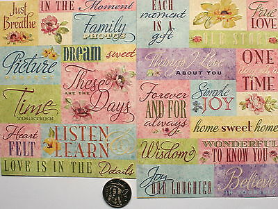 Scrapbooking No 089 - 25 Die Cut Card Stock Sayings Stickers - Price Reduced