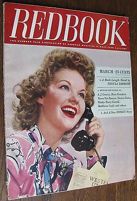 "1945 March ""Redbook Magazine"", short stories, complete novel, features, 166 pgs"