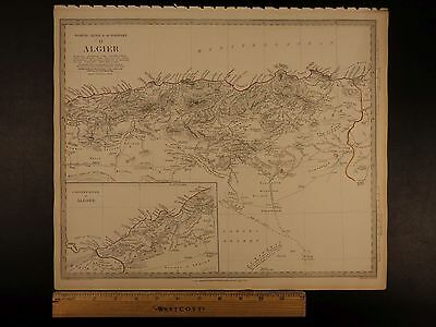 1844 BEAUTIFUL Huge Color MAP of North Africa Algier Sahara Algeria ATLAS