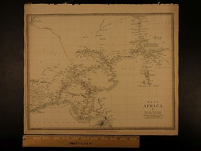 1844 BEAUTIFUL Huge Color MAP of West Africa Bight of Benin Chad Nigeria ATLAS