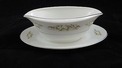 International Silver Co. Fine China Springtime Gravy Boat with attached plate