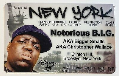 Biggie Smalls - Notorious B.I.G. - New York, Drivers License Novelty