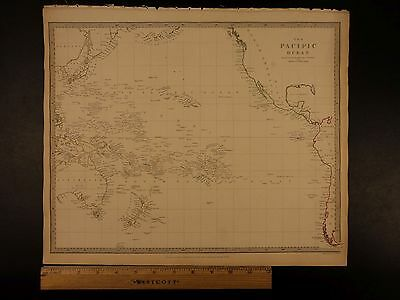 1844 BEAUTIFUL Huge Color MAP of Pacific Ocean Islands Australia Zealand ATLAS