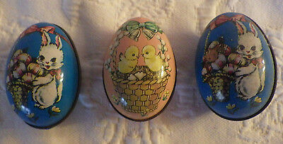 "Lot of 3 Vintage Tin Litho Easter Eggs 2.5"" Mini Candy Containers Rabbit Chicks"