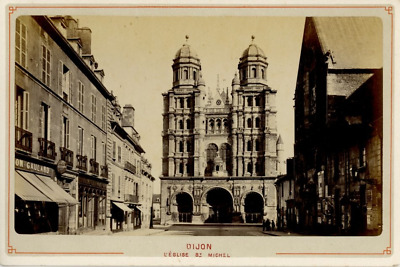 France, Dijon, Eglise Saint Michel Vintage Albumen Print, France Tirage albumi