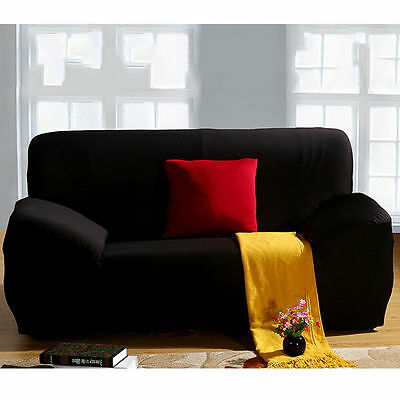 Sofa Cover for 1 2 3 Seater Seat Cover Couch Covers Protector Slipcover Black
