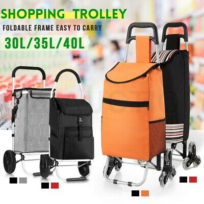 Shopping Carts Trolley Bag w/ Vibrant Coloured Nylon Luggage Wheels Red/Black