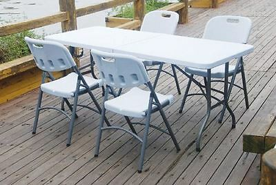 White 6ft Trestle Half Folding Banquet Party Garden Outdoor Camping Table New