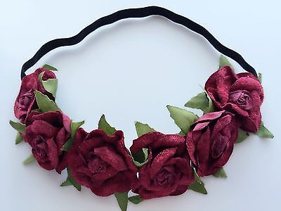 Women Girl BOHO flower Floral Red Rose wedding Party Hair Headband Prop Garland