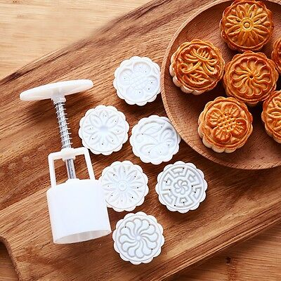 Moon Cake Round Flower Mold Mould Decoration Pastry 50g W/ 6 Stamp DIY Tool New