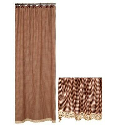Country Primitive Burgundy Grannys Check Shower Curtain Rustic Farmhouse Lace