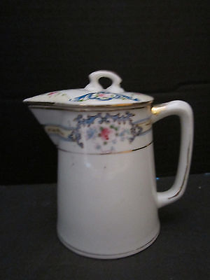 "NORITAKE NIPPON MORIMURA CREAM PITCHER with HANDLE & LID. GOLD. 4-3/4"" TALL"