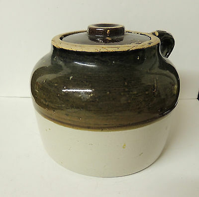 Vintage Stoneware Bean Pot Jug with Lid Handle 2 on Bottom