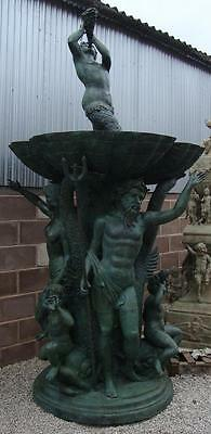 Huge Bronze Neptune Fountain / Water Feature - 334cm High - Verdigris Finish • CAD $32,594.61