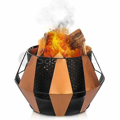 Firepit Bbq Fire Basket Outdoor Barbeque Grill Charcoal Cast Iron Stand Garden
