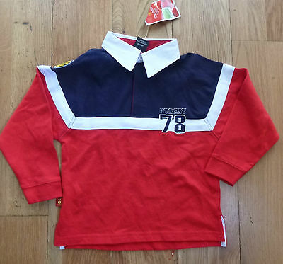 Official Manchester united Kids red long sleeved polo shirt 78 - BNWT