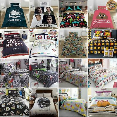 Student Teenager Single & Double Duvet Cover Sets Boys Girls Emoji Skulls & More