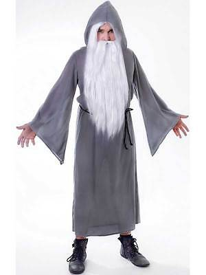 Mens Grey Wizard Cloak Fancy Dress Costume Gandalf Dumbledore Party Outfit New