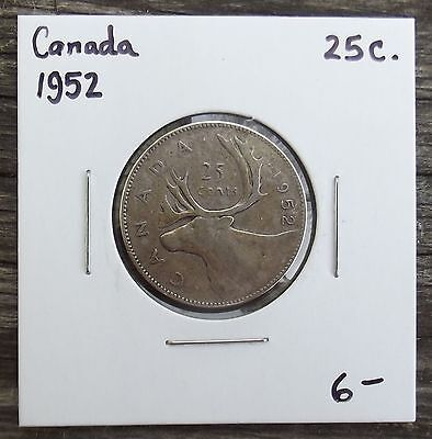 1952 CANADA TWENTY-FIVE CENTS SILVER 25c COIN