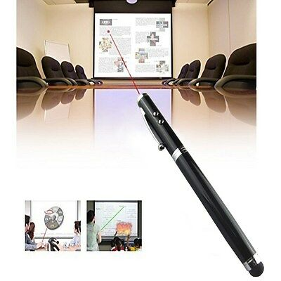 black 4 in1 Laser Pointer LED Torch Touch Screen Stylus Ball Pen iPhone iPad