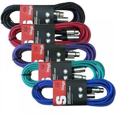 Stagg 5 x 6M XLR Microphone Lead & Audio Signal Cable Multi Coloured Pack