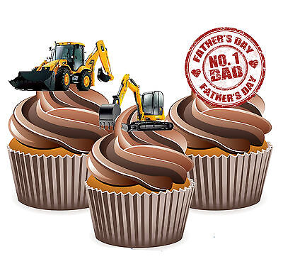 PRECUT Fathers Day JCB Digger 12 Edible Cupcake Toppers Decorations Dad Daddy